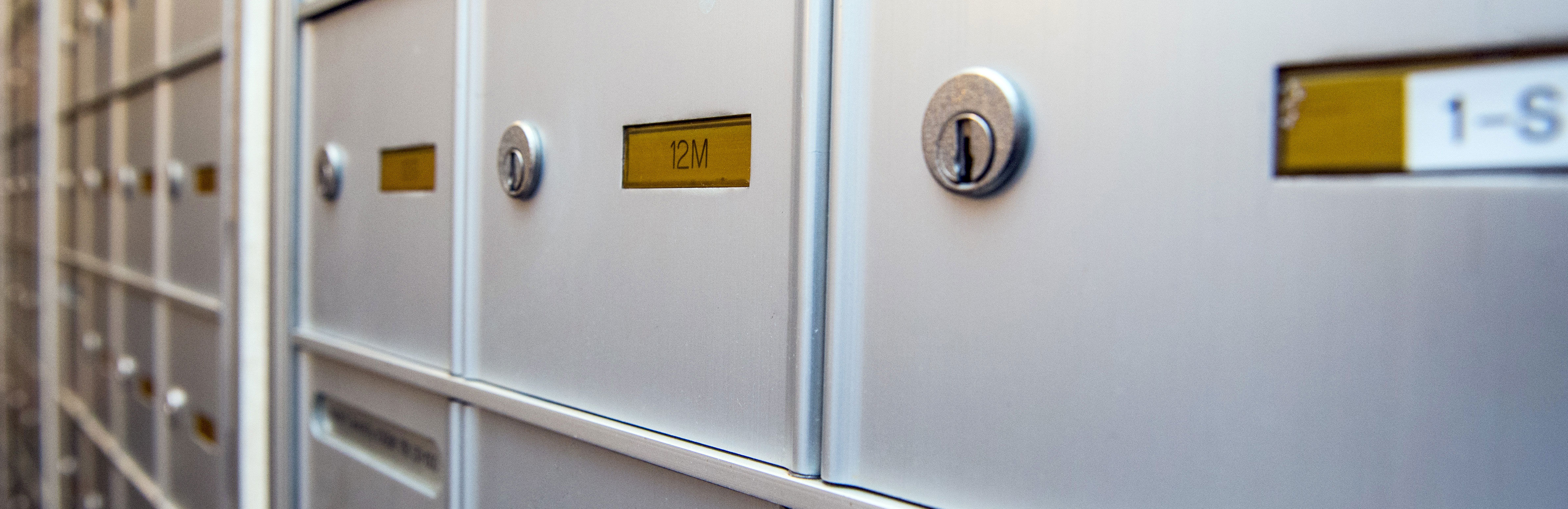 Mailboxes in Weill Cornell Medicine housing.