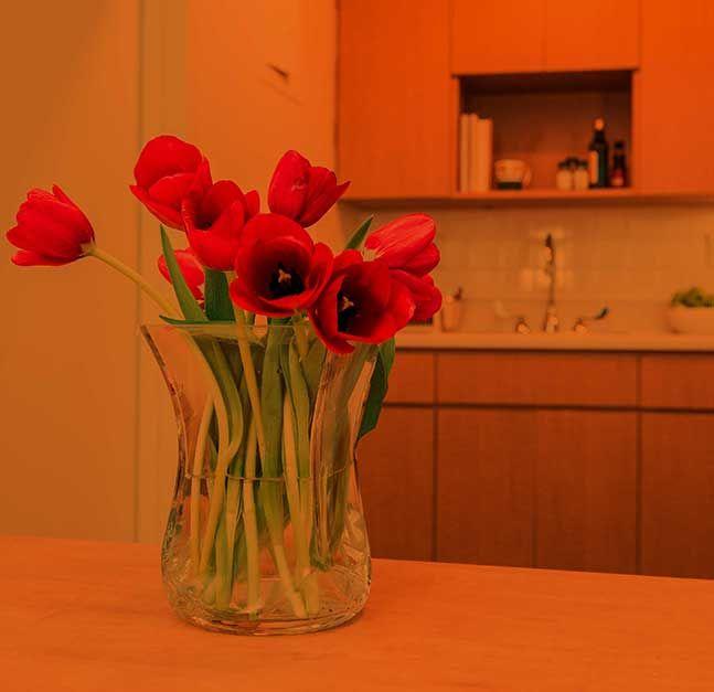 Flower vase on kitchen table.